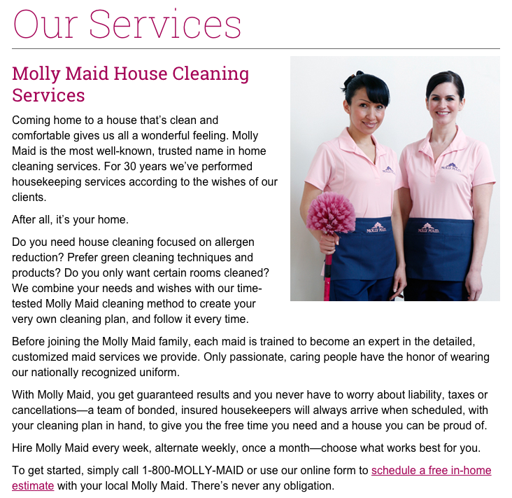 reviews of molly maid service